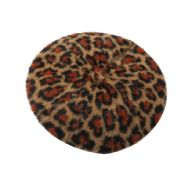 Shaggy Leopard Beret - Brown